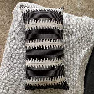 Long Tribal Print Accent Pillow - Black and White